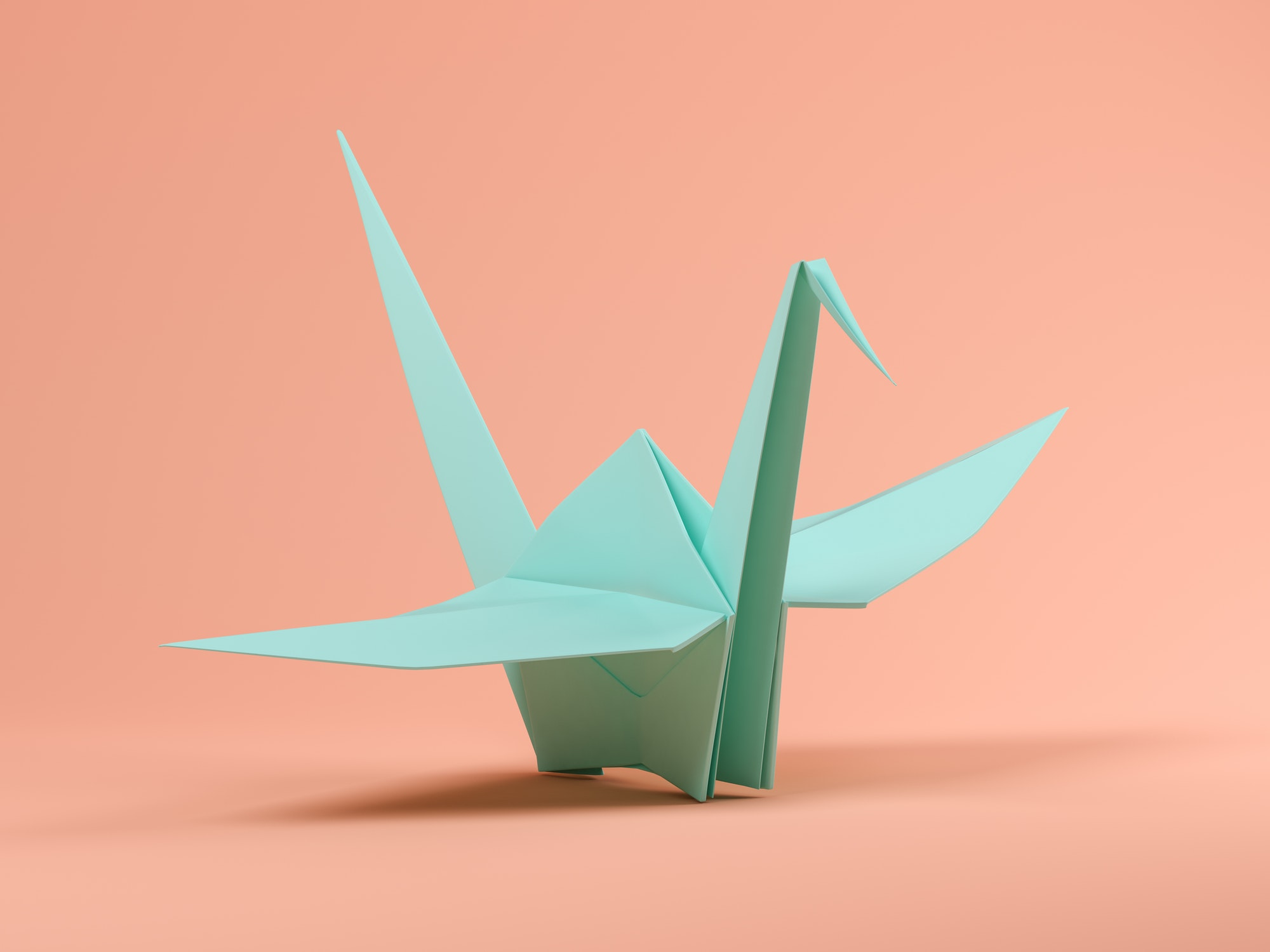 Blue origami on pink background 3D illustration